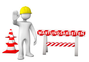 White cartoon character on site with german text Wartungsarbeiten translate maintenance.